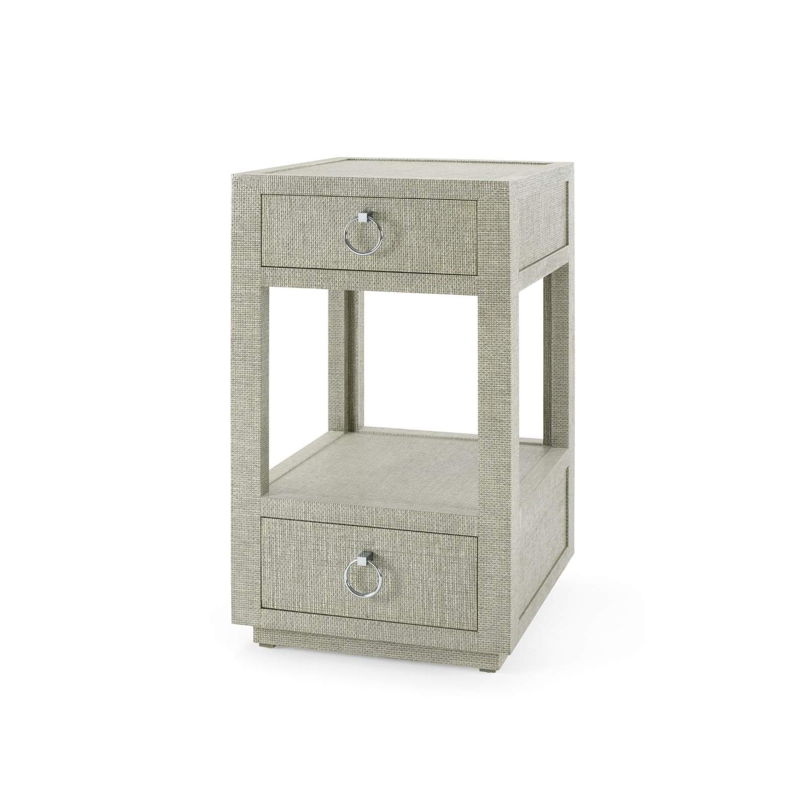 Bungalow 5 - CAMILLA 2-DRAWER SIDE TABLE in MOSS GRAY TWEED