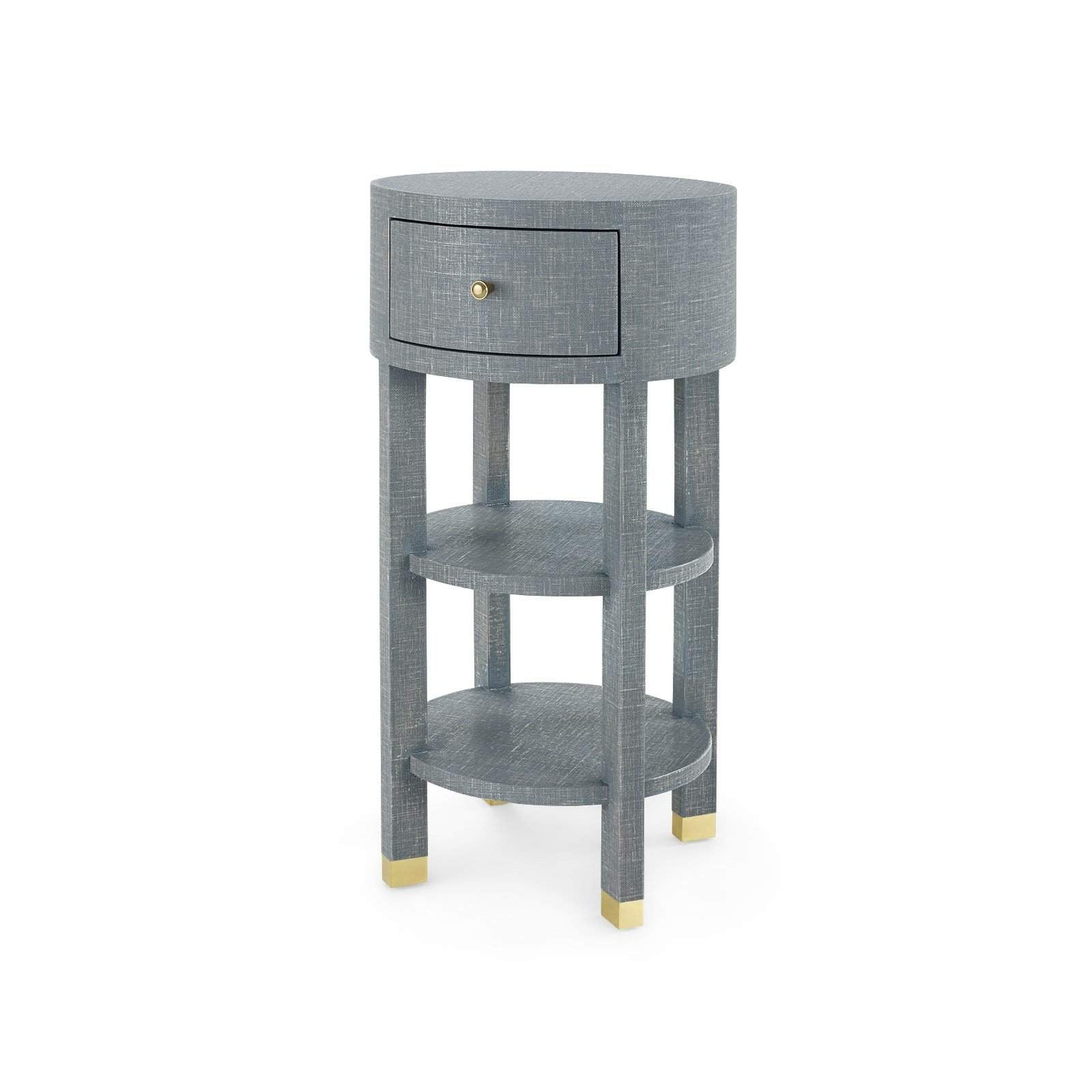Bungalow 5 CLAUDETTE 1 DRAWER ROUND SIDE TABLE in GRAY