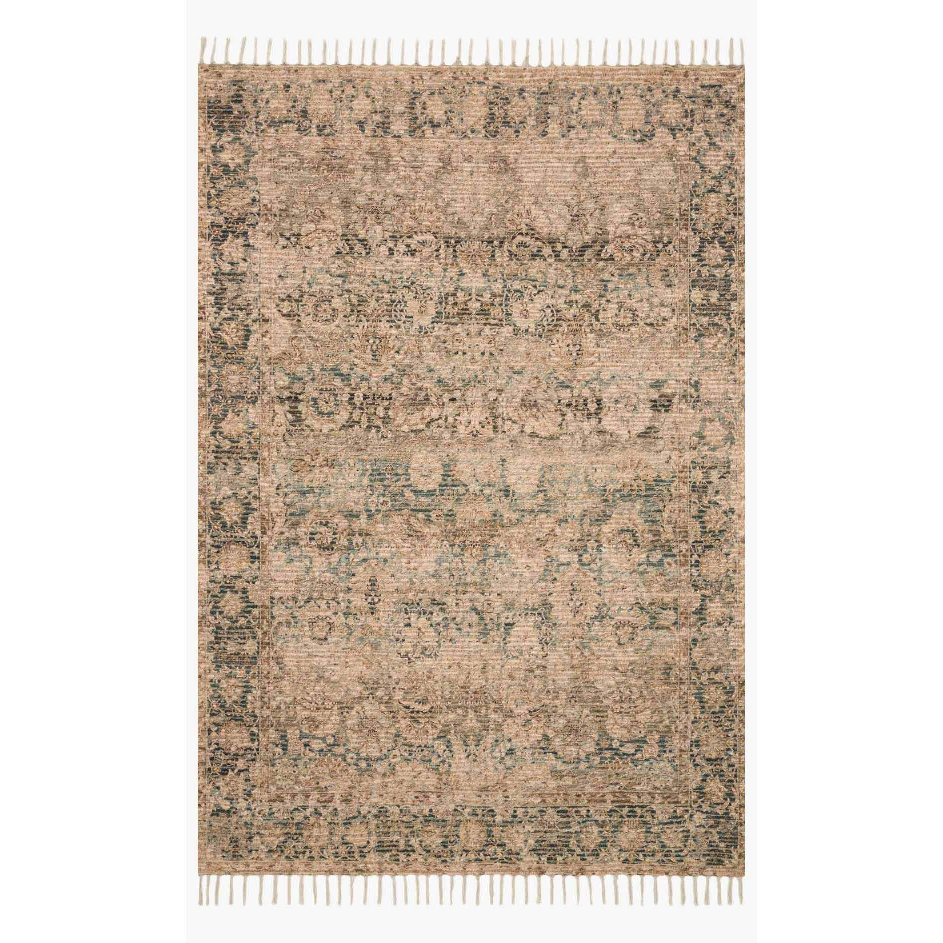 Justina Blakeney Rugs - Cornelia - Cor-01 Natural/Teal-Loloi Rugs-Blue Hand Home