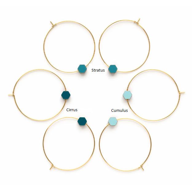Gold Hexagon Color Story Hoops - Sky Blues