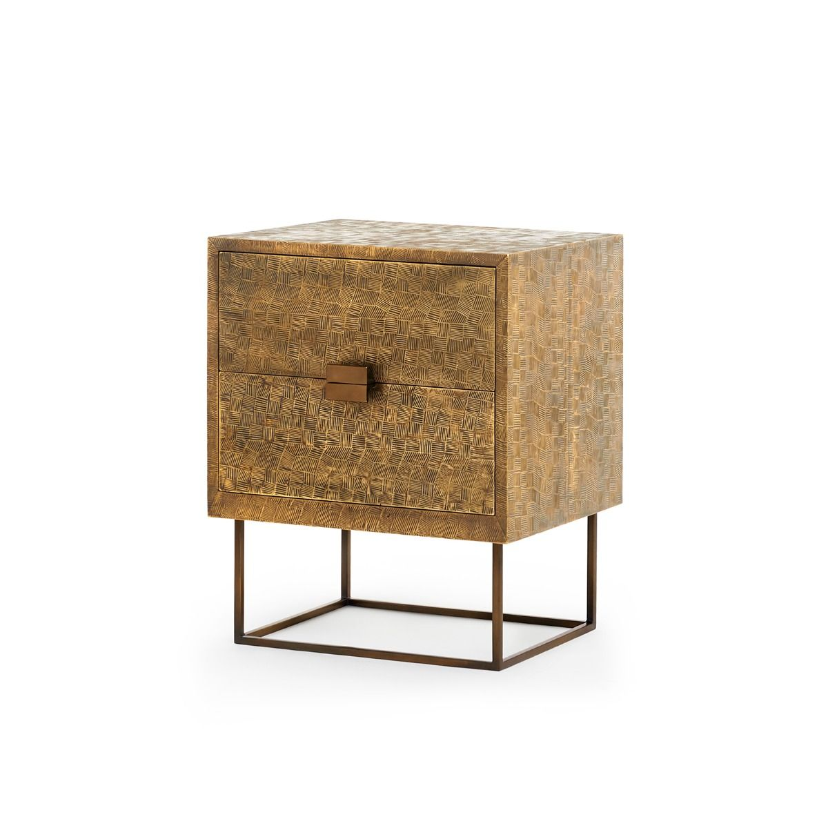 Bungalow 5 - CUBIC 2-DRAWER SIDE TABLE, ANTIQUE BRASS