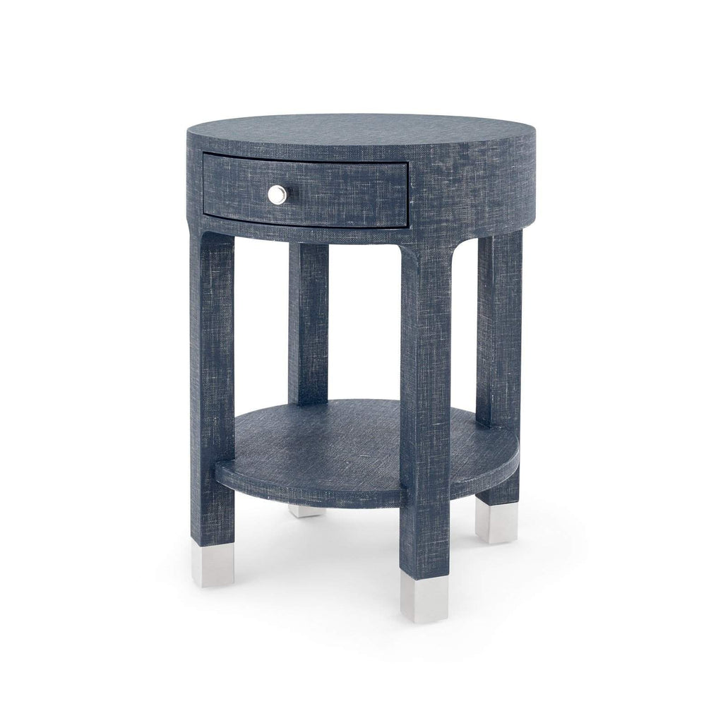 Bungalow 5 - DAKOTA 1-DRAWER ROUND SIDE TABLE in NAVY BLUE-Bungalow 5-Blue Hand Home