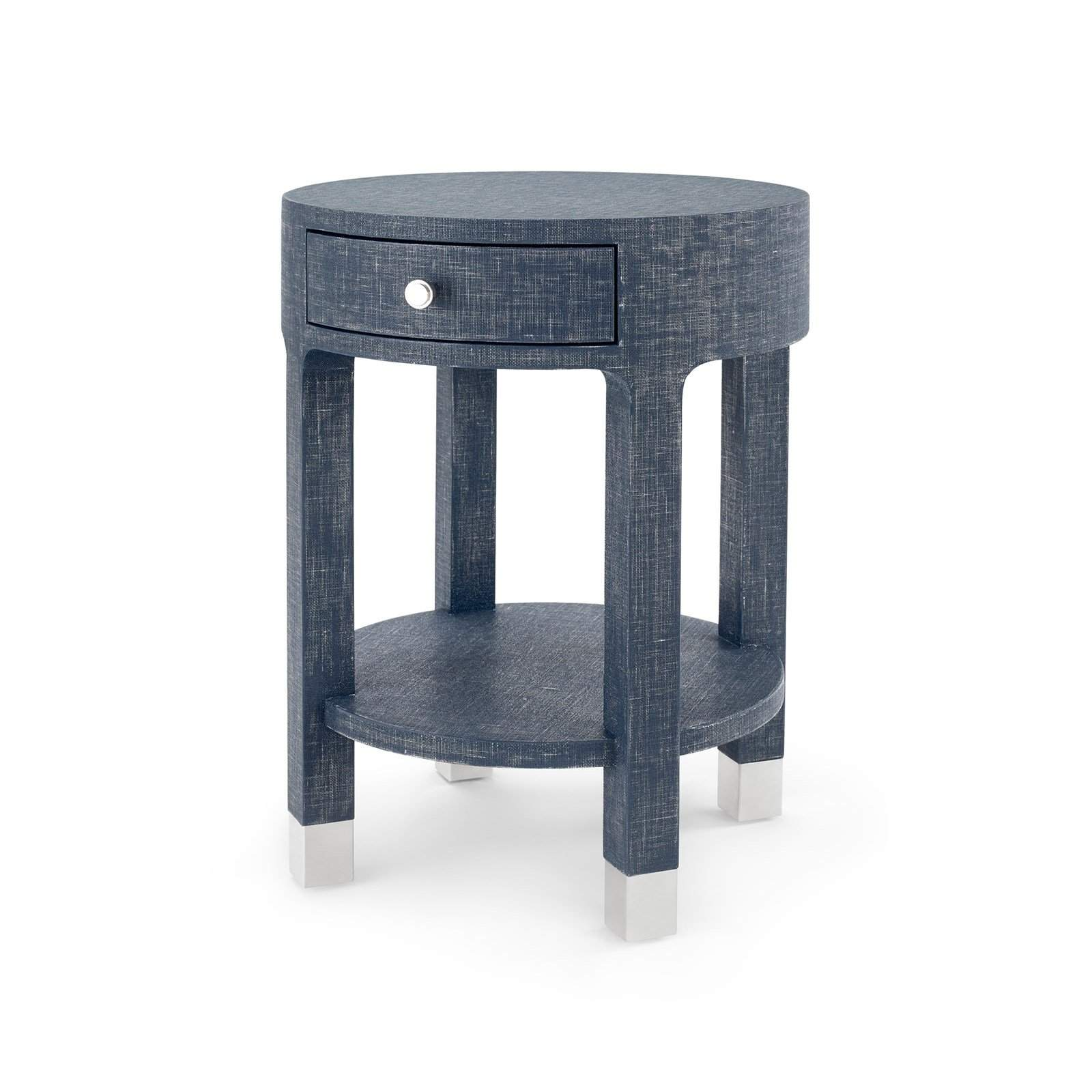 Bungalow 5   DAKOTA 1 DRAWER ROUND SIDE TABLE In NAVY BLUE   Blue Hand ...