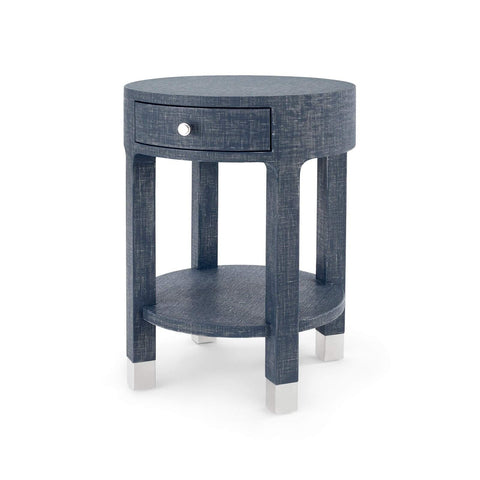 Bungalow 5 - DAKOTA 1-DRAWER ROUND SIDE TABLE in NAVY BLUE - Blue Hand Home
