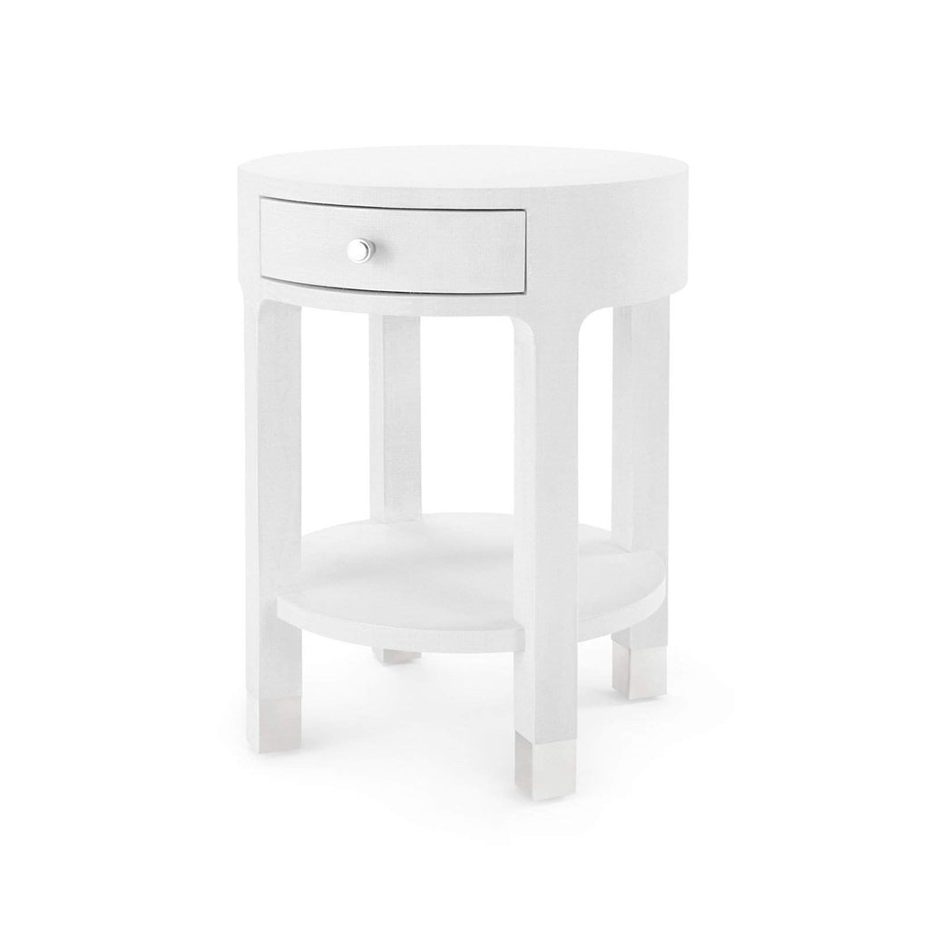 Bungalow 5 - DAKOTA 1-DRAWER ROUND SIDE TABLE in WHITE - Blue Hand Home