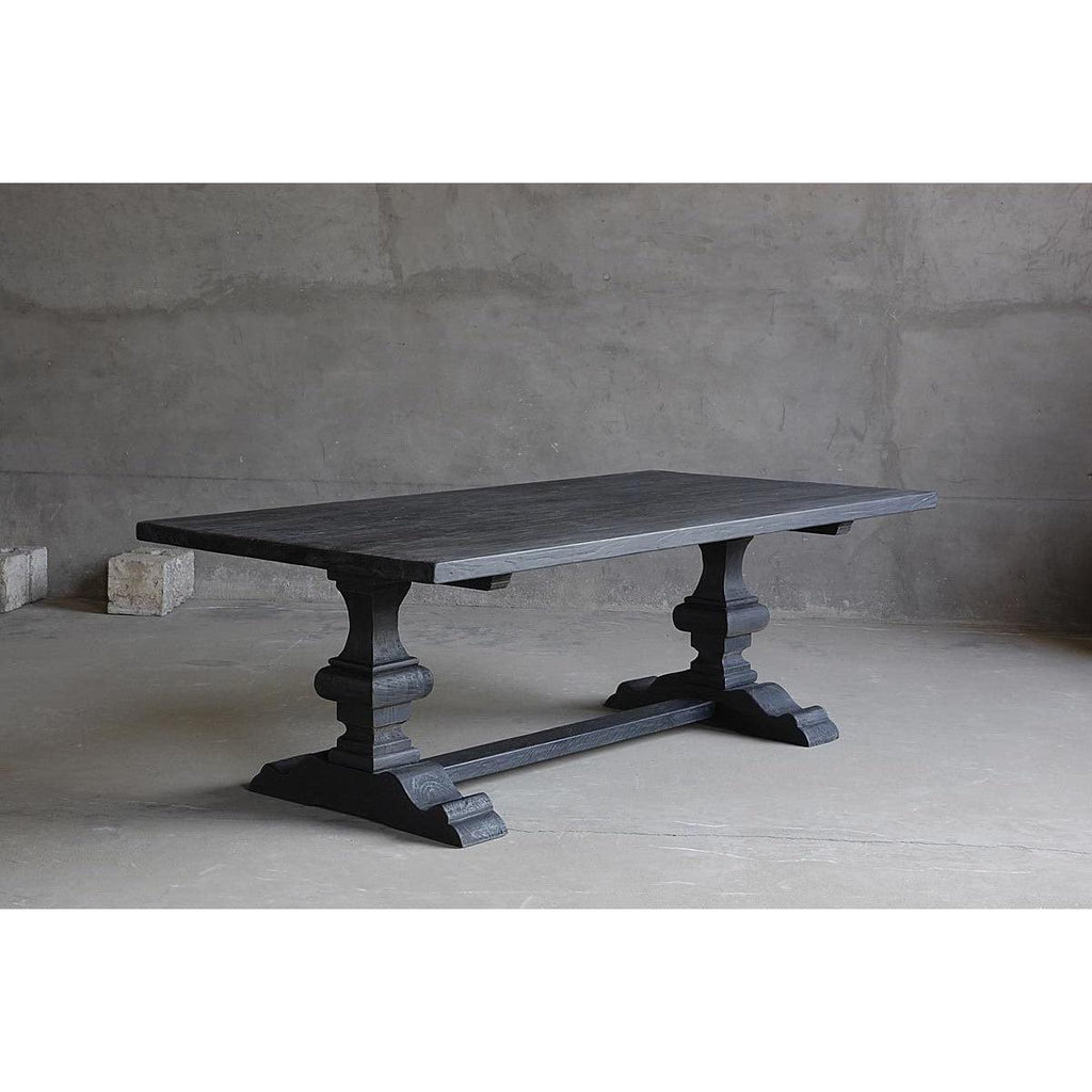 Long Dining Table- Double Pedastal w Center Beam - Blue Hand Home