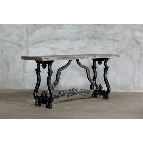 Reclaimed Elm Baroque Tall Bar Table - Blue Hand Home