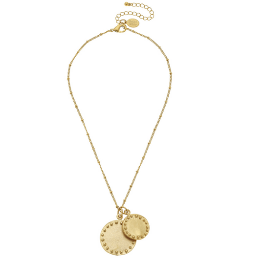 Susan Shaw Handcast Gold Double Circle w/ Dots Chain Necklace