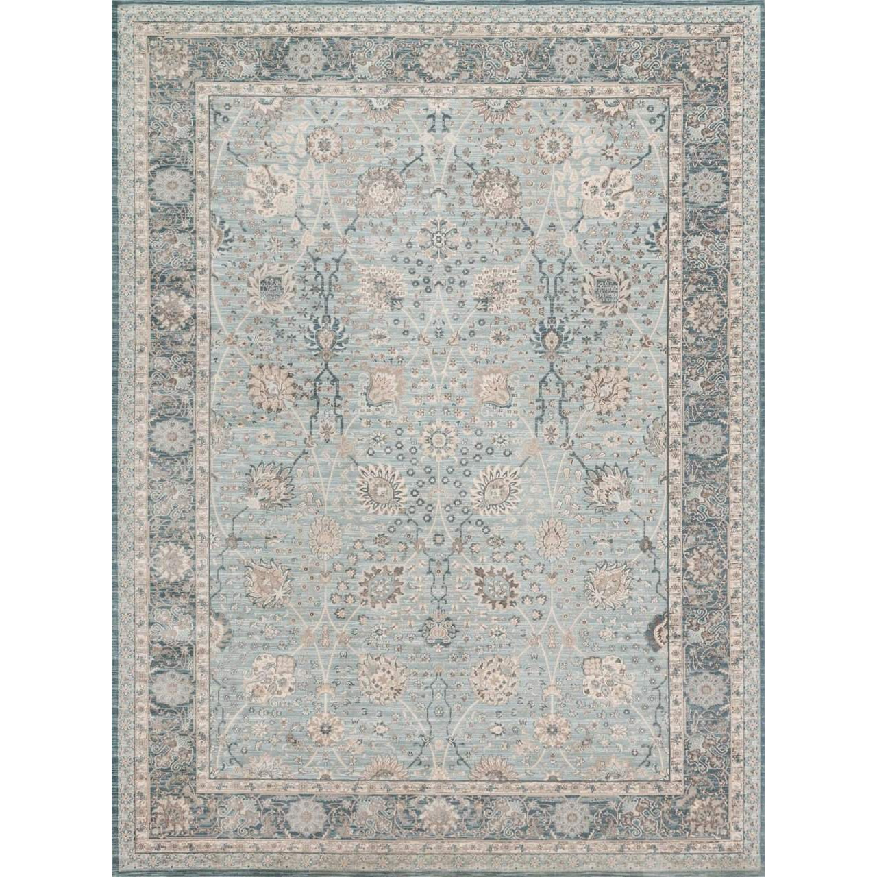 Joanna Gaines Magnolia Home Rug - Ella Rose Collection - Lt Blue / Dk Blue - Blue Hand Home
