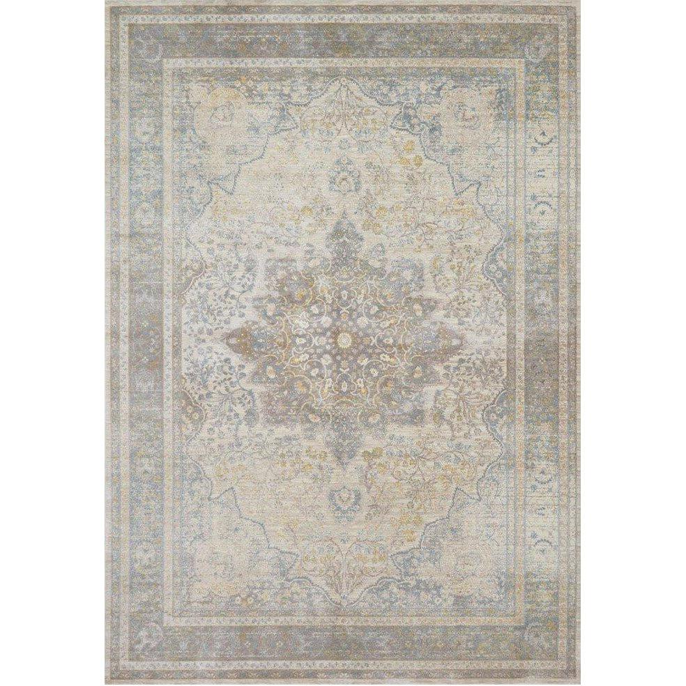 Joanna Gaines Magnolia Home Rug - Ella Rose Collection -Stone / Blue-Loloi Rugs-Blue Hand Home
