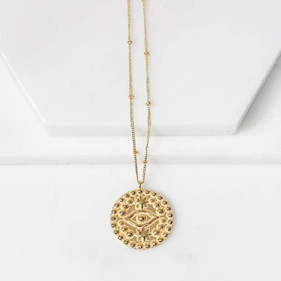 Evil Eye Medallion Necklace-Joya-Blue Hand Home
