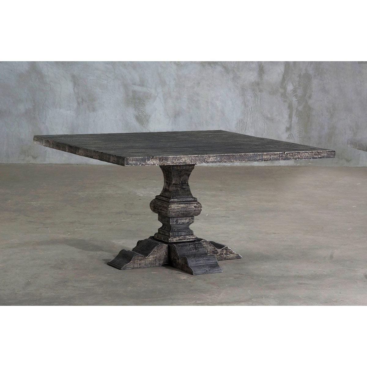 Reclaimed Elm Square Dining Table - Pedestal Leg