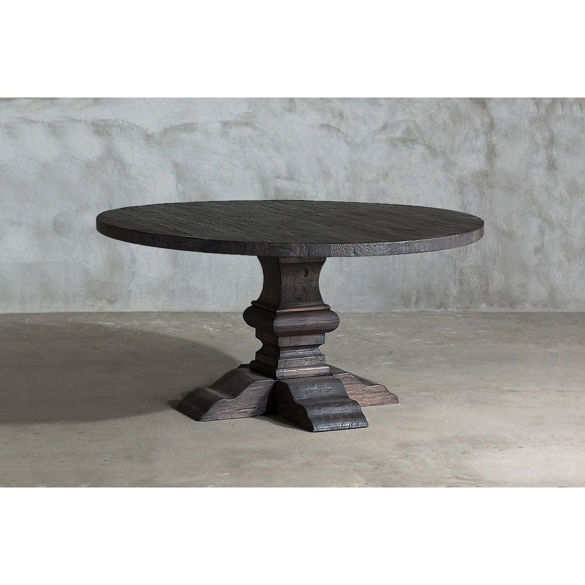 Reclaimed Elm Round Dining Table   Pedestal Base   Shop and Earn ...