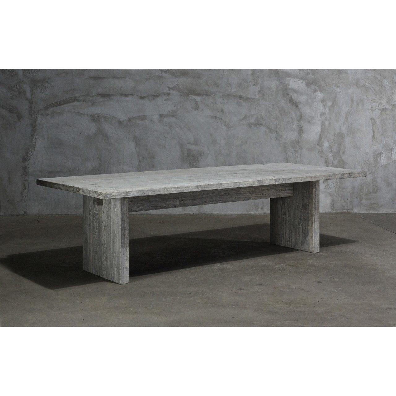 Reclaimed Elm Large Dining Table - Solid Leg