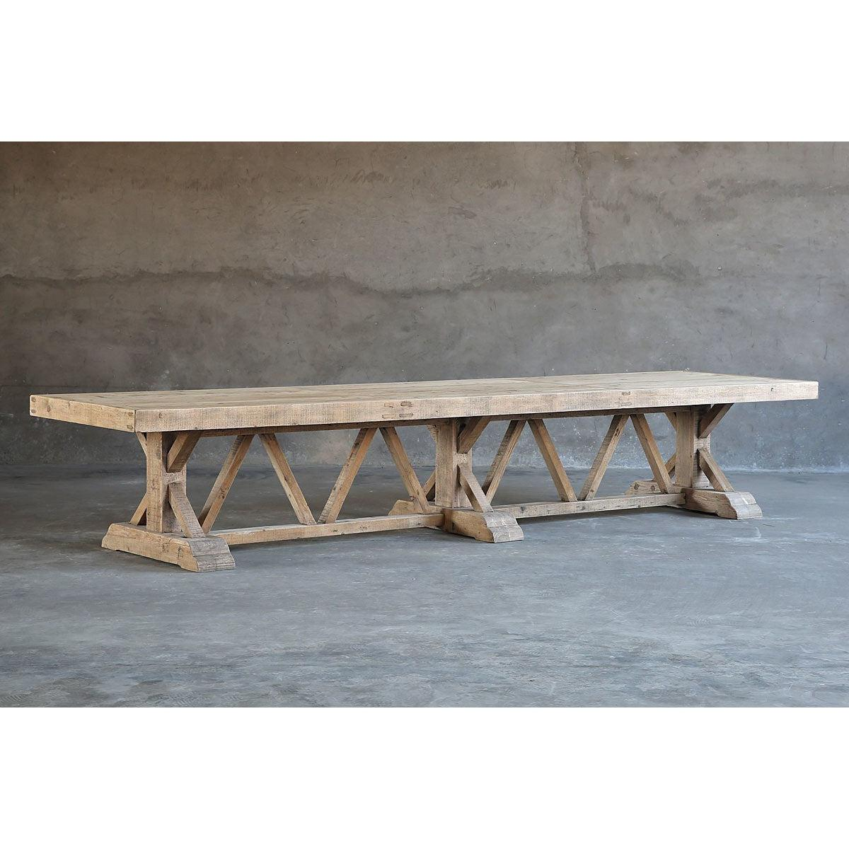 Salvaged Wood Trestle Dining Table Large Organic Restoration Blue Hand Home