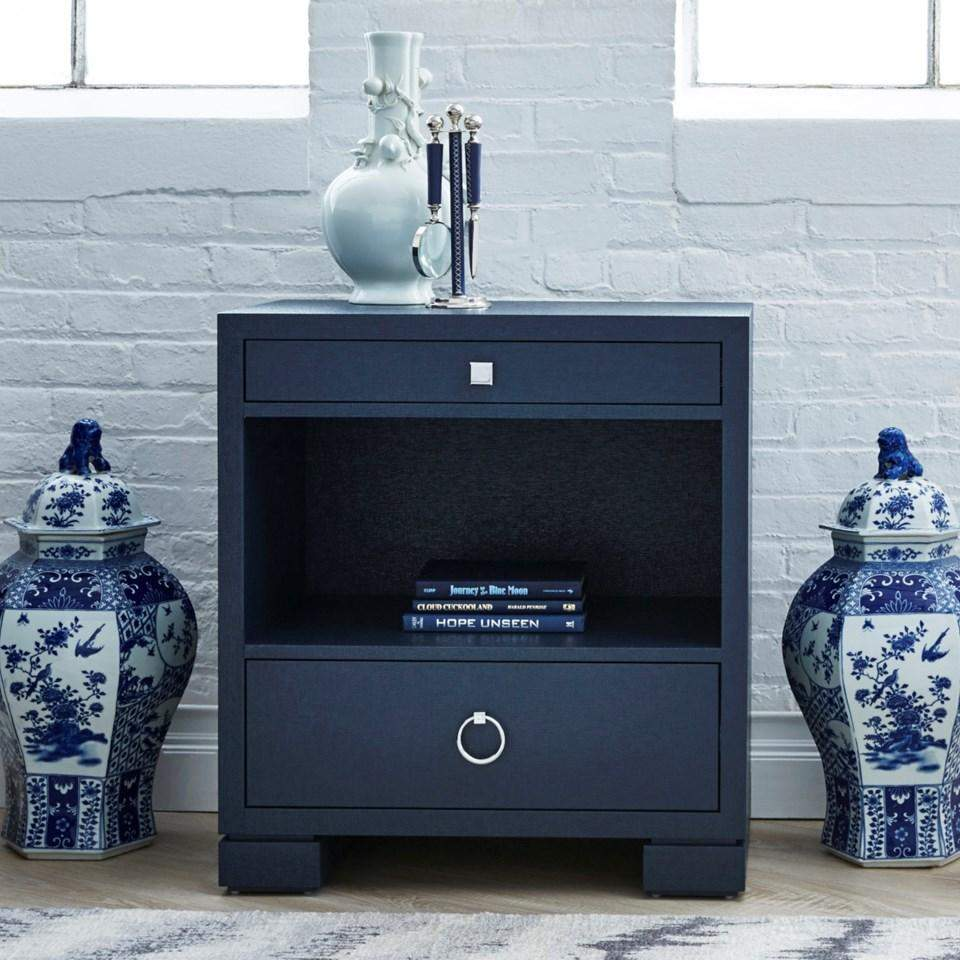 Bungalow 5 Frances 2 Drawer Side Table In Navy Blue