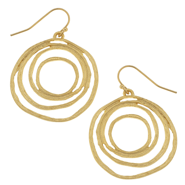 Susan Shaw Handcast Gold Filigree Cut Out Earrings-Susan Shaw Jewelry-Blue Hand Home