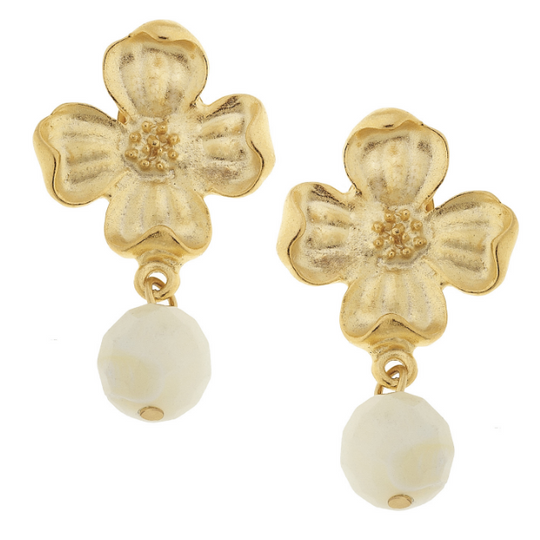Susan Shaw Handcast Gold Flower with Mother of Pearl Earrings