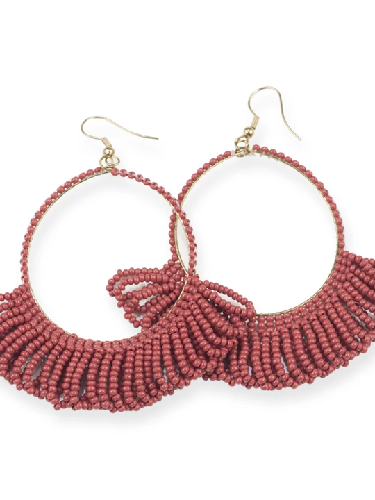 Fringe Hoop Seed Bead Earrings - 3.5