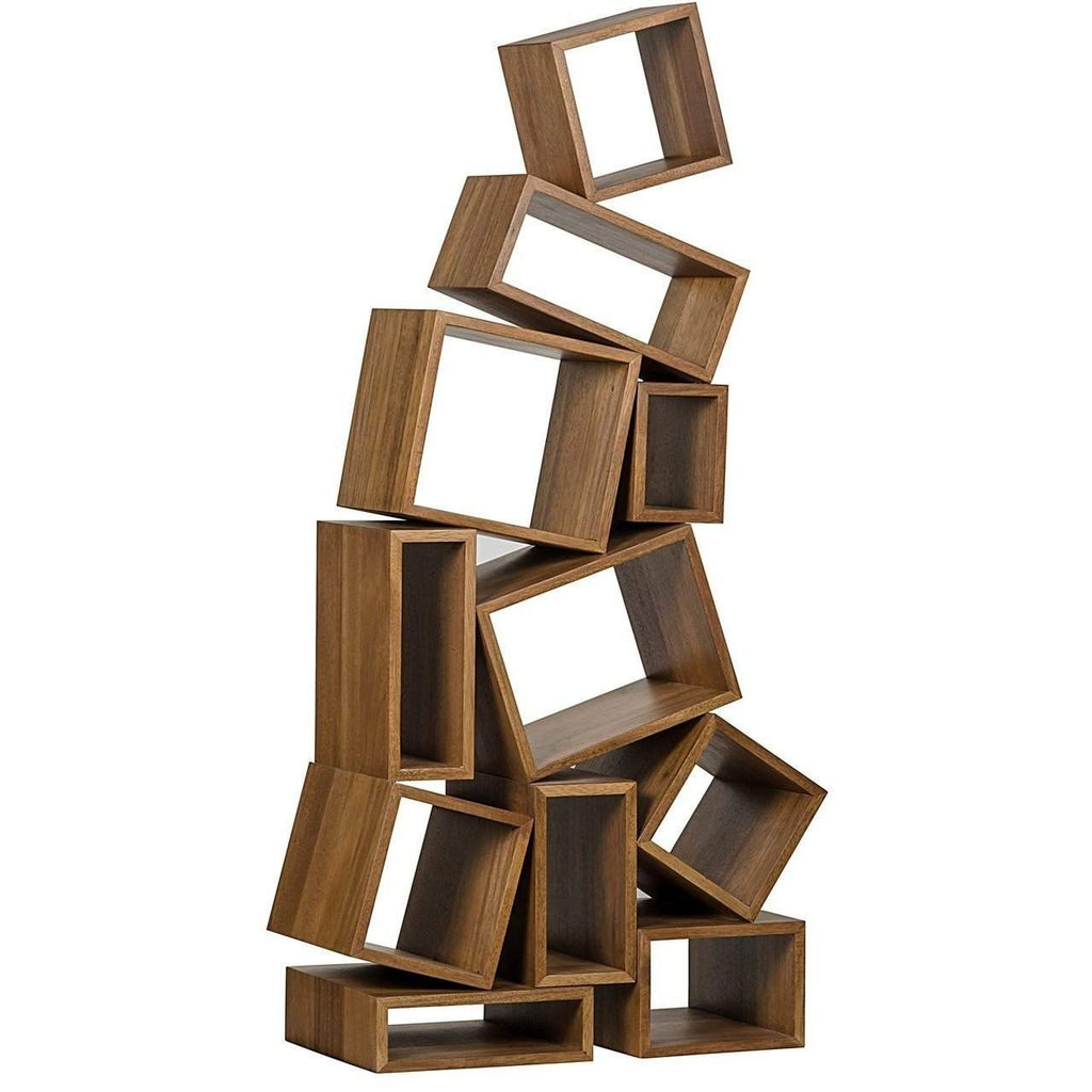 Noir Cubist Bookcase, Dark Walnut-Noir Furniture-Blue Hand Home