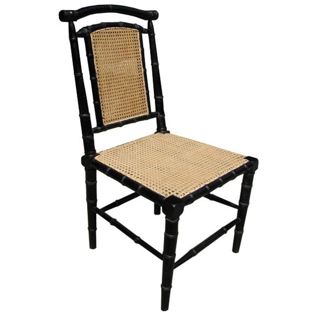 Noir Colonial Bamboo Side Chair, Hand Rubbed Black-Noir Furniture-Blue Hand Home