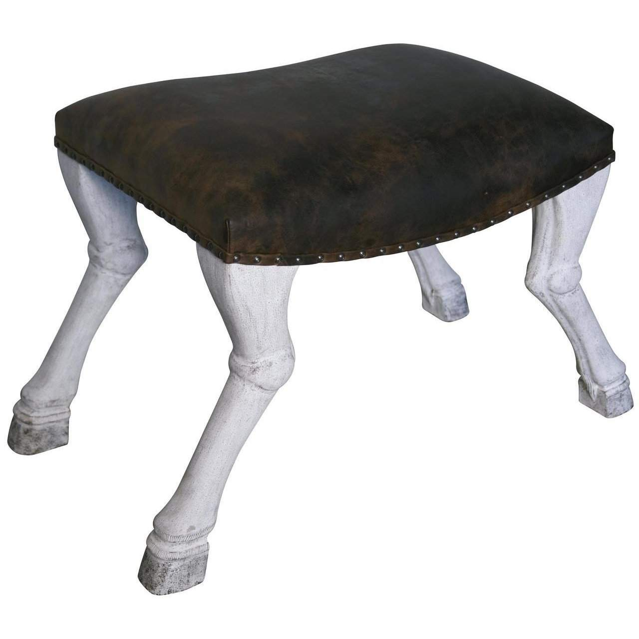 Noir Claw Leg Saddle Stool w/ Leather, White Weathered