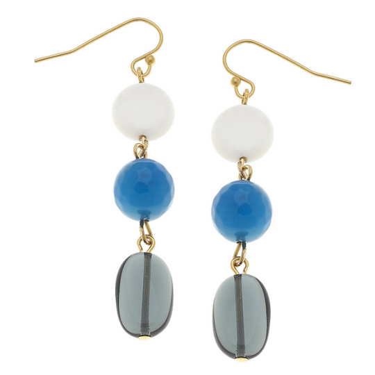 Susan Shaw Handcast Gold Genuine White Turquoise & Agate Drop Earrings