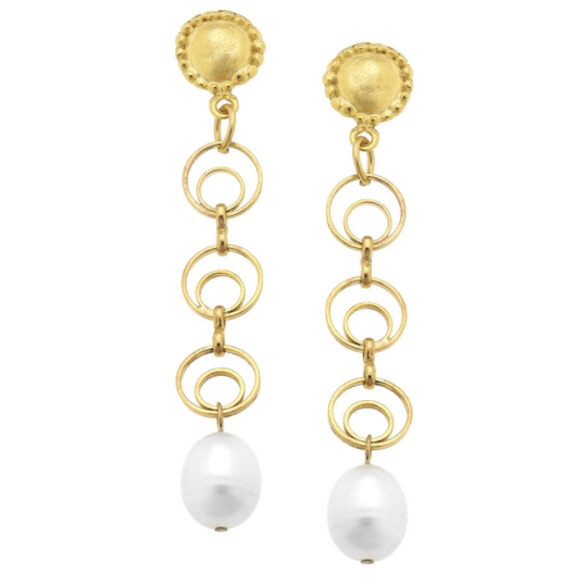 Handcast Gold Cab, Round Chain & Genuine Freshwater Pearl Earrings