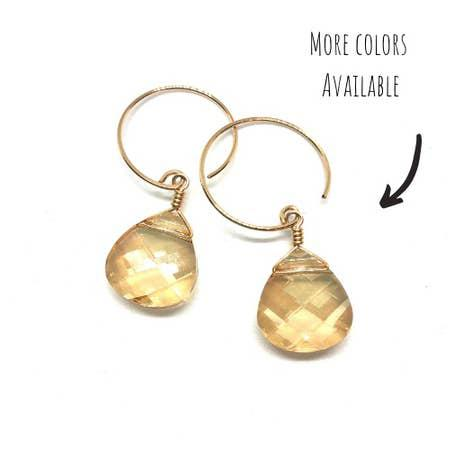 Gold Filled Little Round Swarovski Earrings