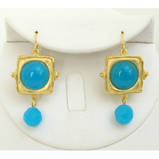 Susan Shaw Handcast Gold Square & Turquoise Quartz Earrings
