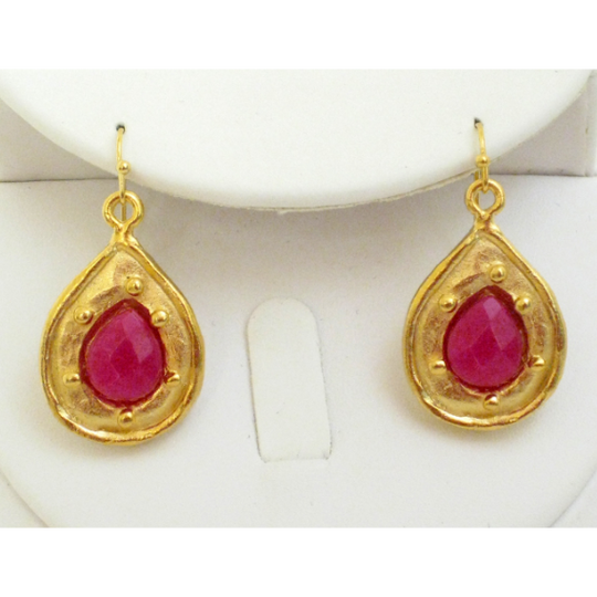 Susan Shaw Handcast Gold Teardrop with Ruby Jade Stone Earrings