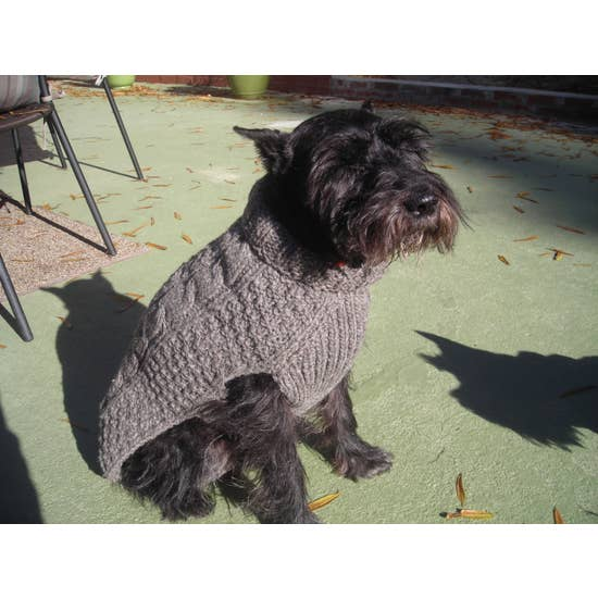 Gray Cable Knit Dog Sweater-Chilly Dog-Blue Hand Home