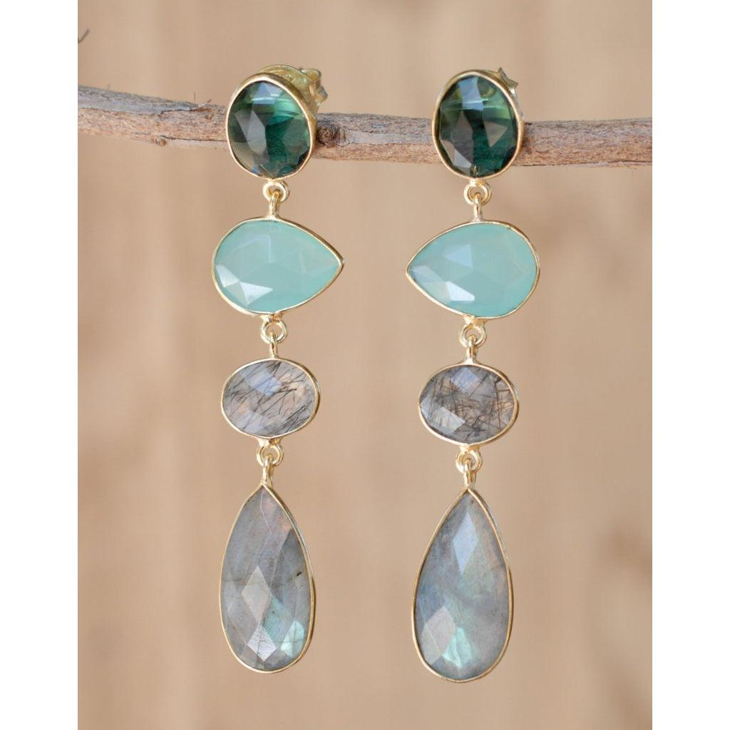 Multi Stone Drop Earrings - BJE060A-ByCila-Blue Hand Home
