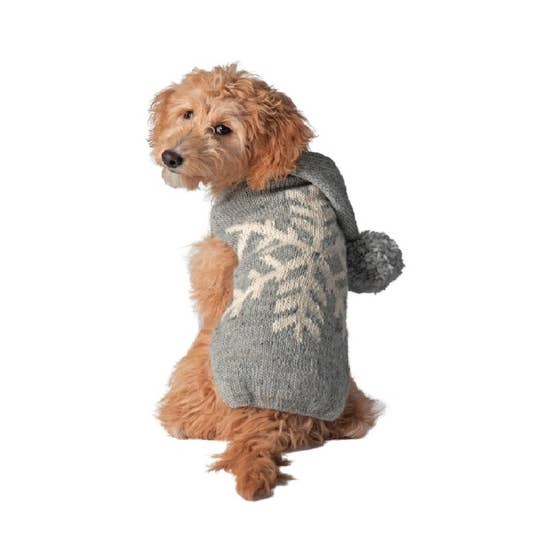 Grey Alpaca Snowflake Dog Sweater-Chilly Dog-Blue Hand Home