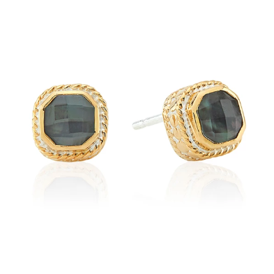 Anna Beck Grey Quartz Stud Earrings-Anna Beck Jewelry-Blue Hand Home