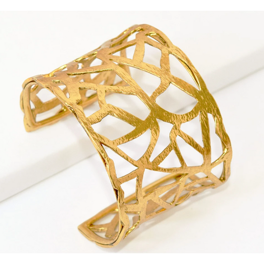 Karine Sultan Hammered Adjustable Cut out Cuff