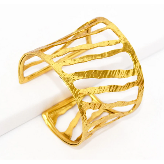 Karine Sultan Cut out Hammered Cuff
