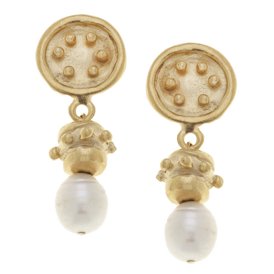 Susan Shaw Handcast Gold & Pearl Earrings