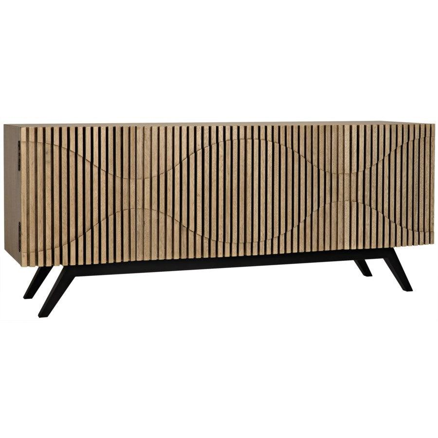Noir Illusion Sideboard with Metal Base, Bleached Walnut-Noir Furniture-Blue Hand Home