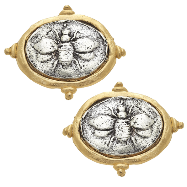 "Susan Shaw Handcast Gold & Silver Italian Intaglio ""Bee"" Pierced Earrings-Susan Shaw Jewelry-Blue Hand Home"