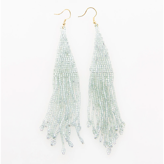 Iridescent Sky Long Fringe Beaded Earring