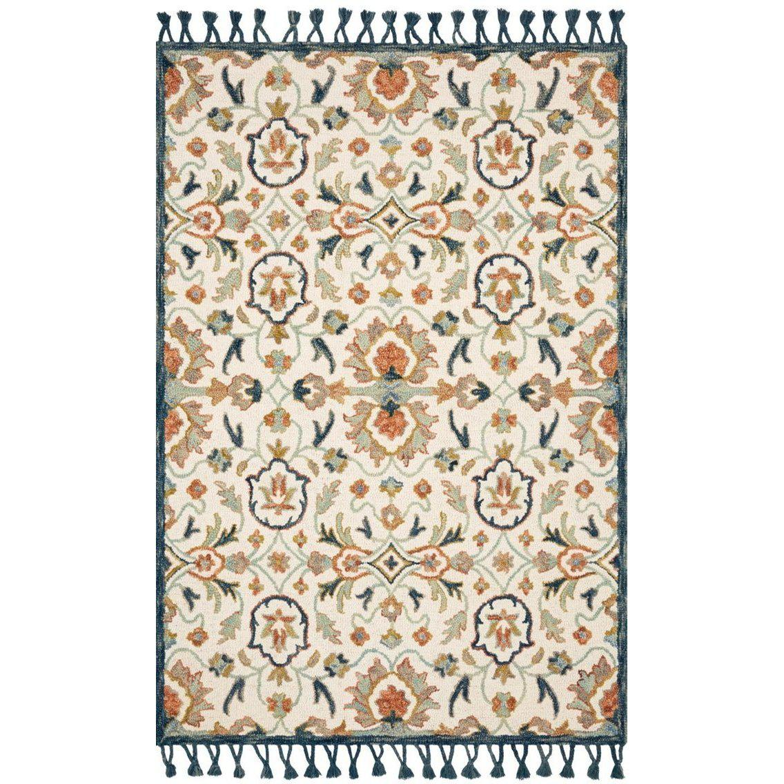 Joanna Gaines Kasuri Rug Collection - Ivory/Multi-Loloi Rugs-Blue Hand Home