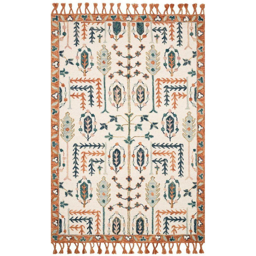 Joanna Gaines Kasuri Rug Collection - Ivory/Persimmon-Loloi Rugs-Blue Hand Home