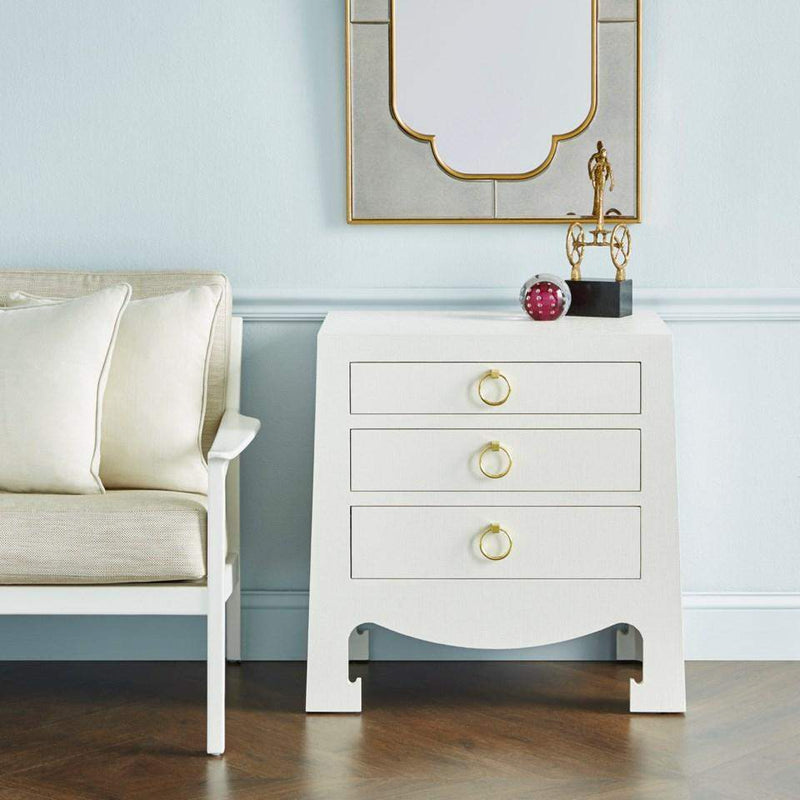 Bungalow 5 - JACQUI 3-DRAWER SIDE TABLE in WHITE GRASSCLOTH-Bungalow 5-Blue Hand Home