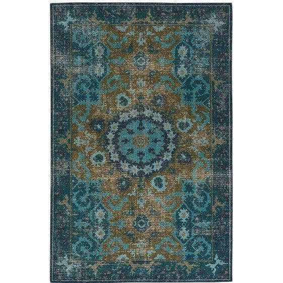 Jaipur Kai Rugs - Deep Teal and Avocado