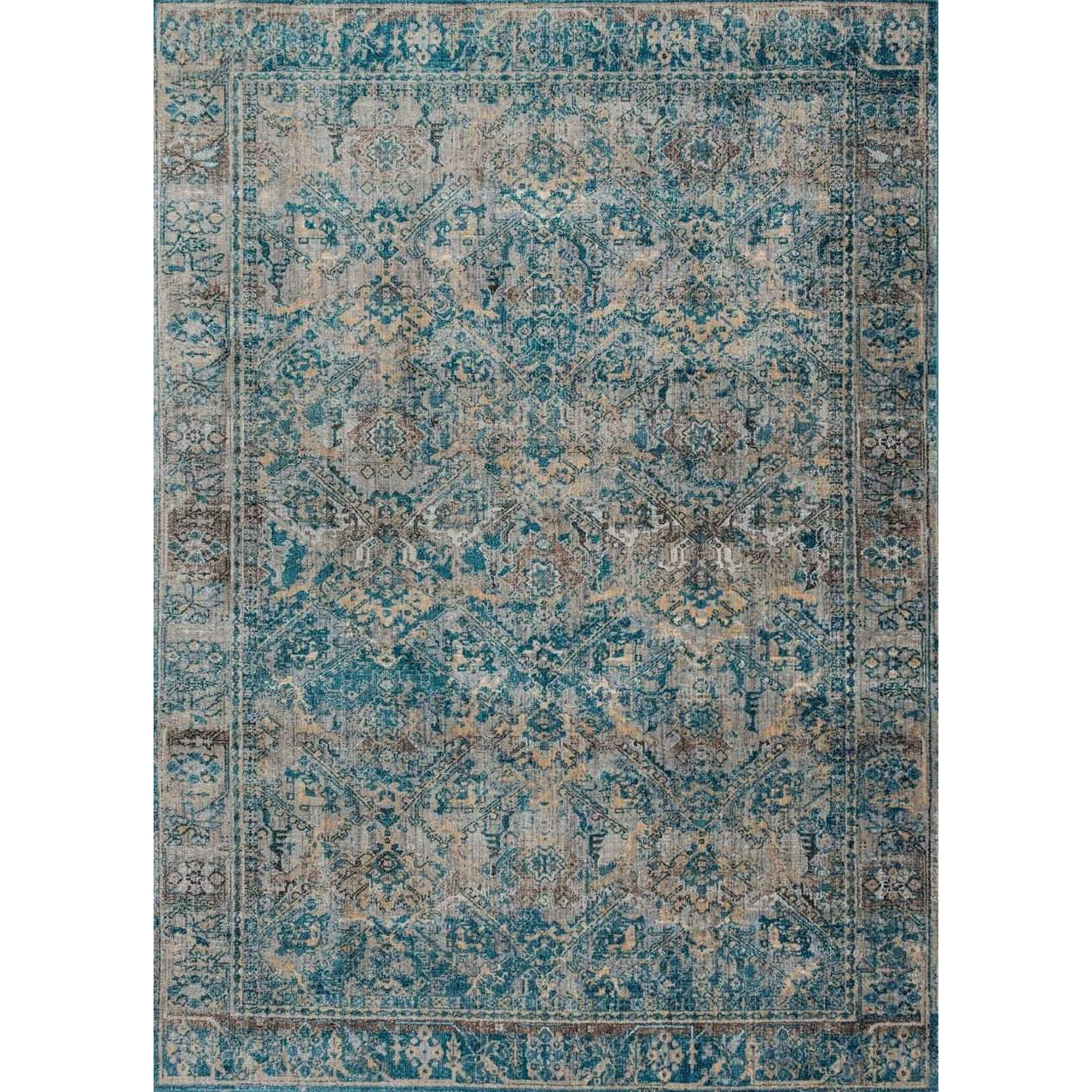 Joanna Gaines Rugs of Magnolia Home Rugs - Kivi Collection - Fog / Mediterranean - Blue Hand Home