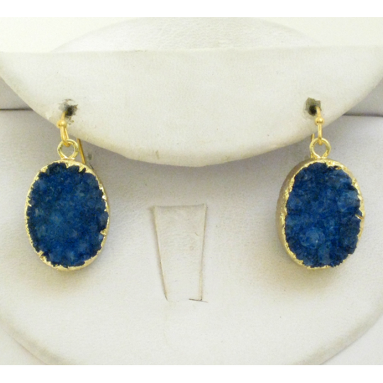 Susan Shaw Lapis Blue Druzy Quartz Earrings