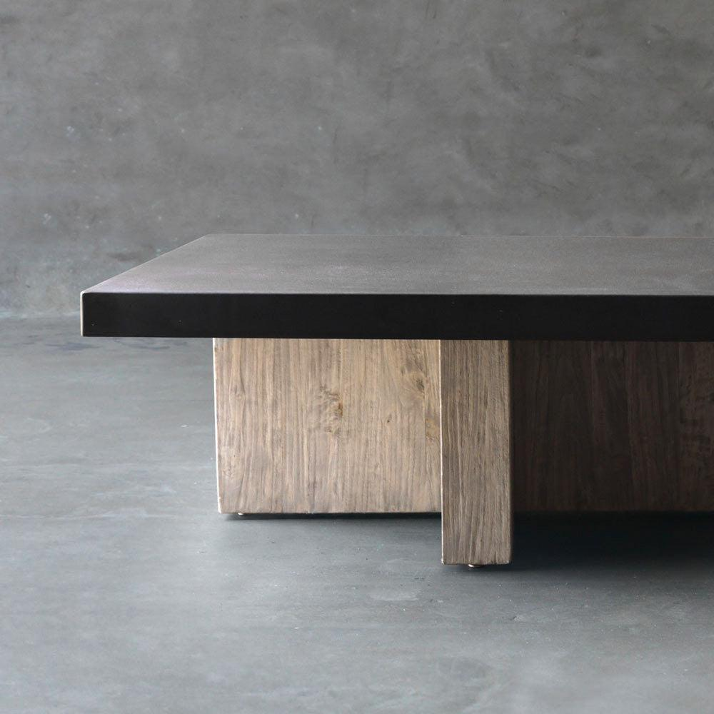 Concrete Top Coffee Table - T Base - Blue Hand Home