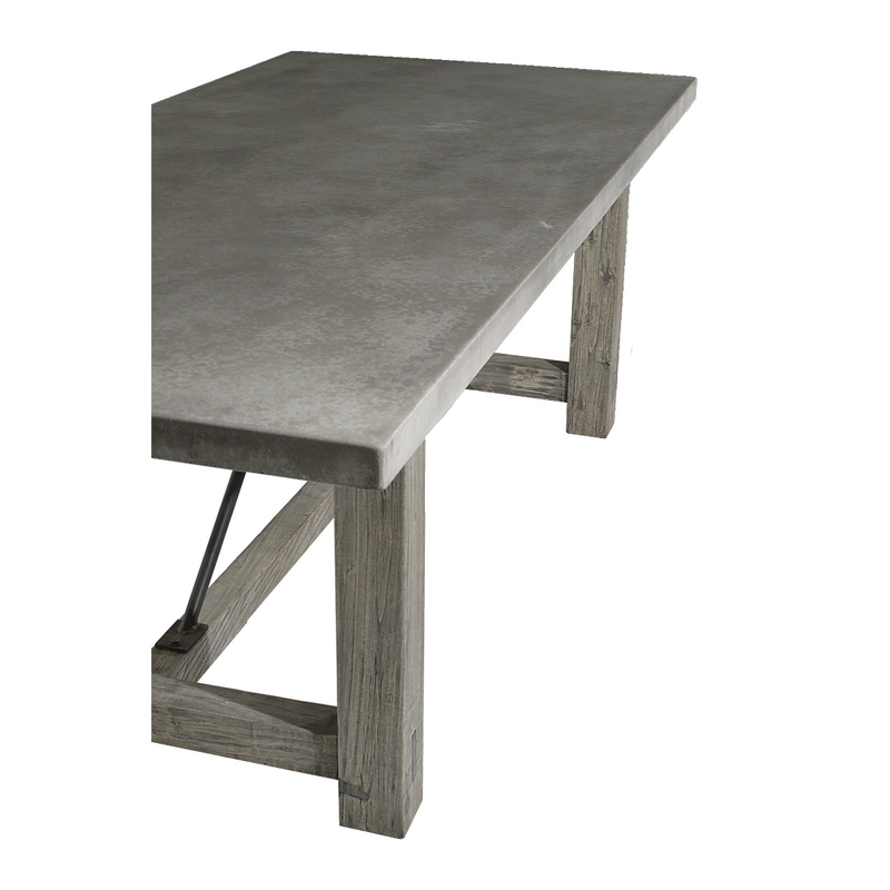 Concrete and Reclaimed Elm Farm Table-Organic Restoration-Blue Hand Home