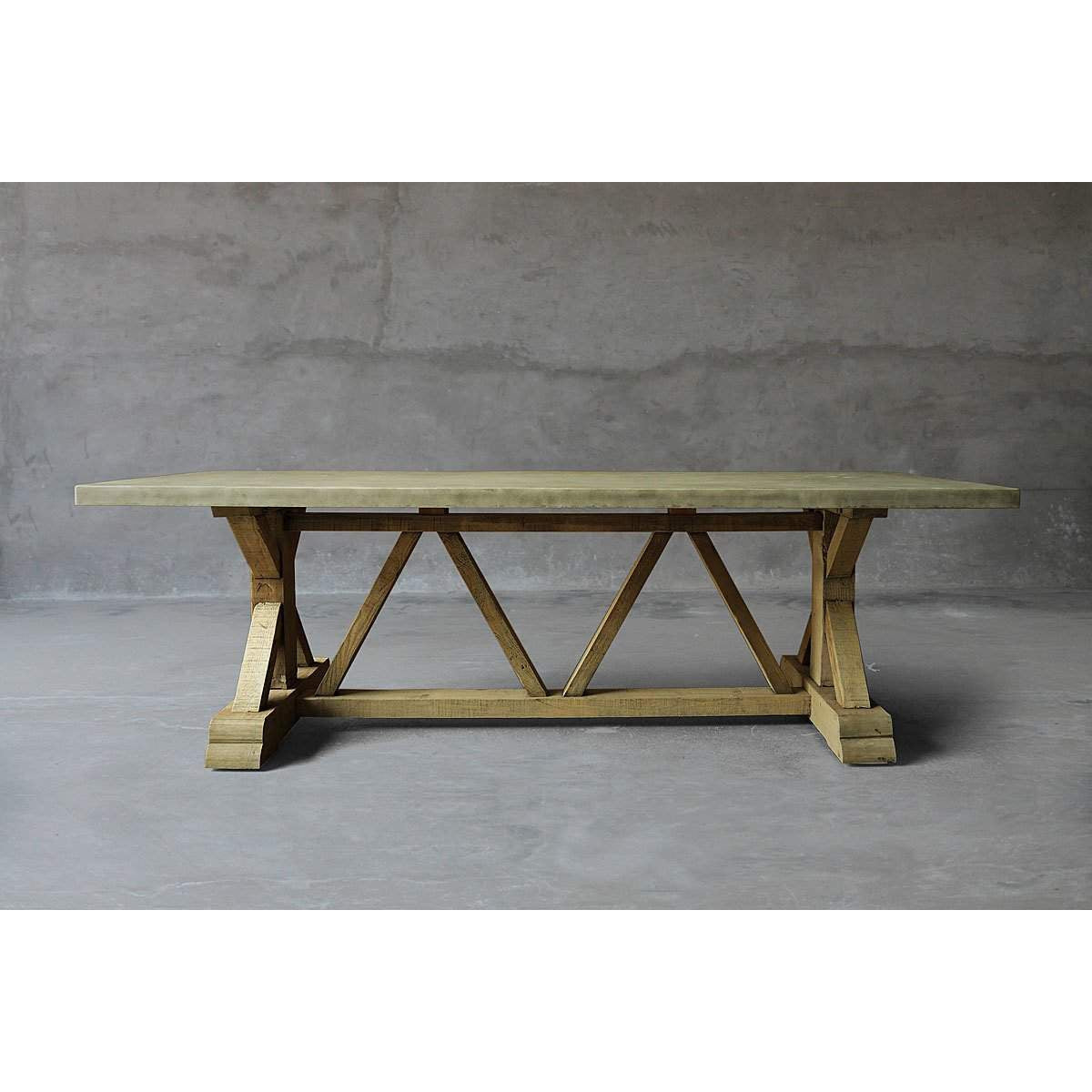 Reclaimed Timber Trestle Table with Concrete Top